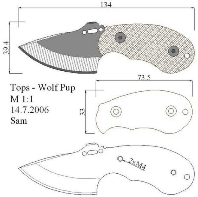 Чертеж шкусъемного ножа скиннер