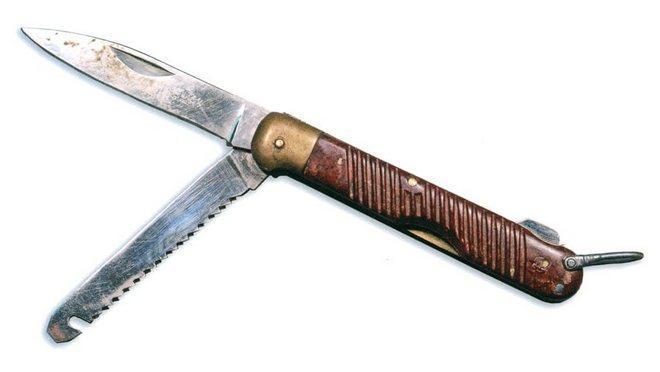 Авиационный нож с коричневой рукояткой