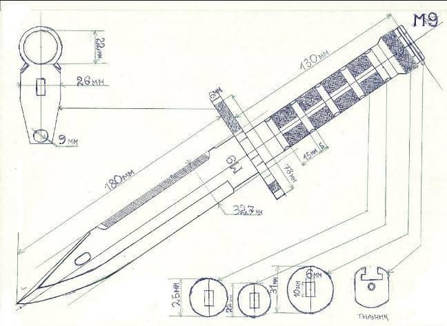 M9 Bayonet чертеж