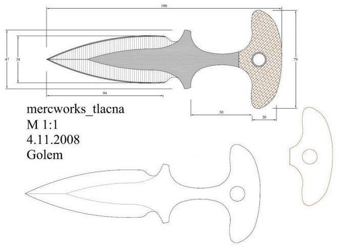 Тычковый нож - чертеж