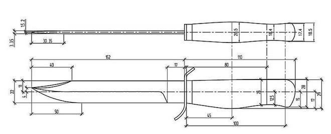Нож НР-40 - чертеж