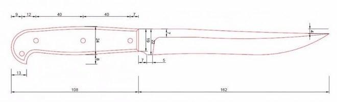 Казачий пластунский нож чертеж