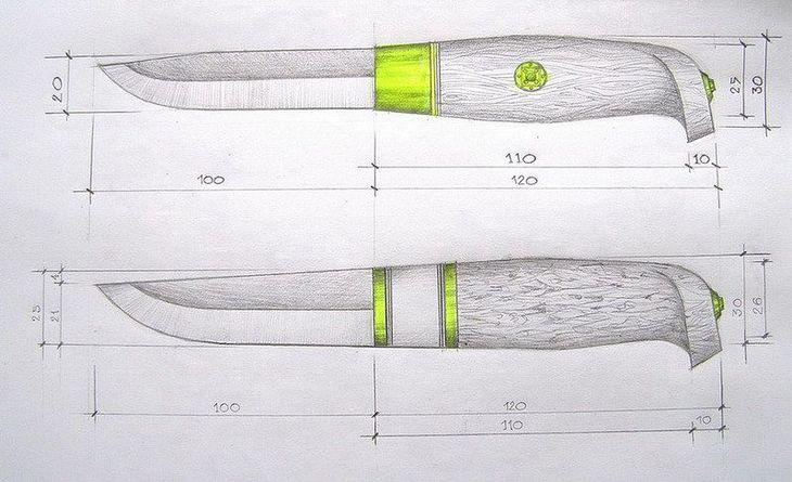 Чертёж ножа Пуукко с размерами