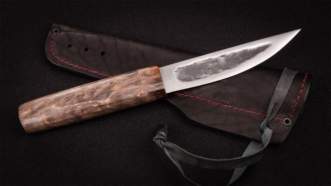 Якутский нож с желобом и кожаными ножнами