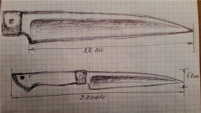 Чертеж ножа из косы