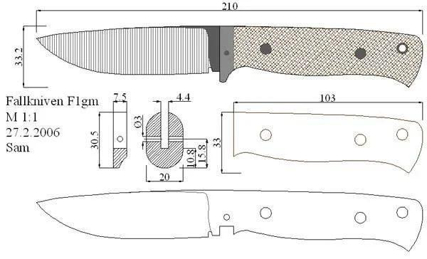 Чертёж ножа Fallkniven F1 с размерами