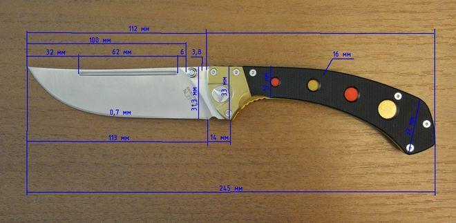 Размеры ножа К781 VOSTOK от Viking Nordway Steel 440