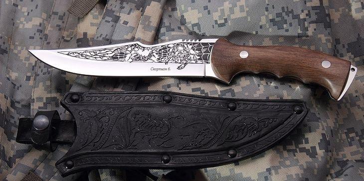 Нож Скорпион с кожаными ножнами