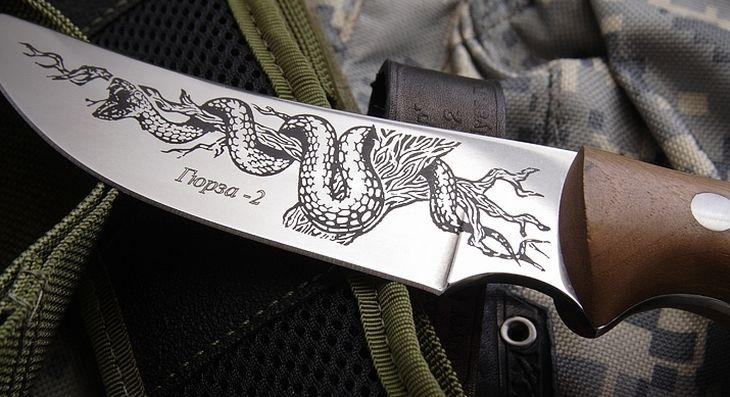 Клинок ножа Гюрза с травлением