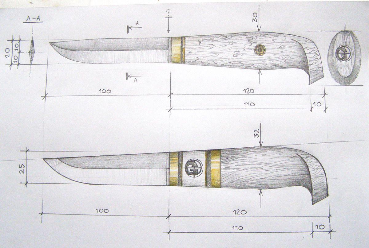 чертеж ножа пуукко.
