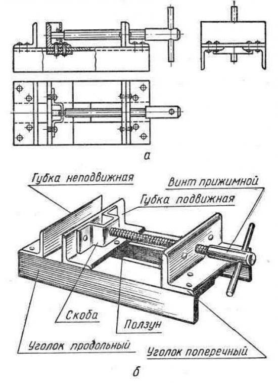 Слесарные тиски: схема.